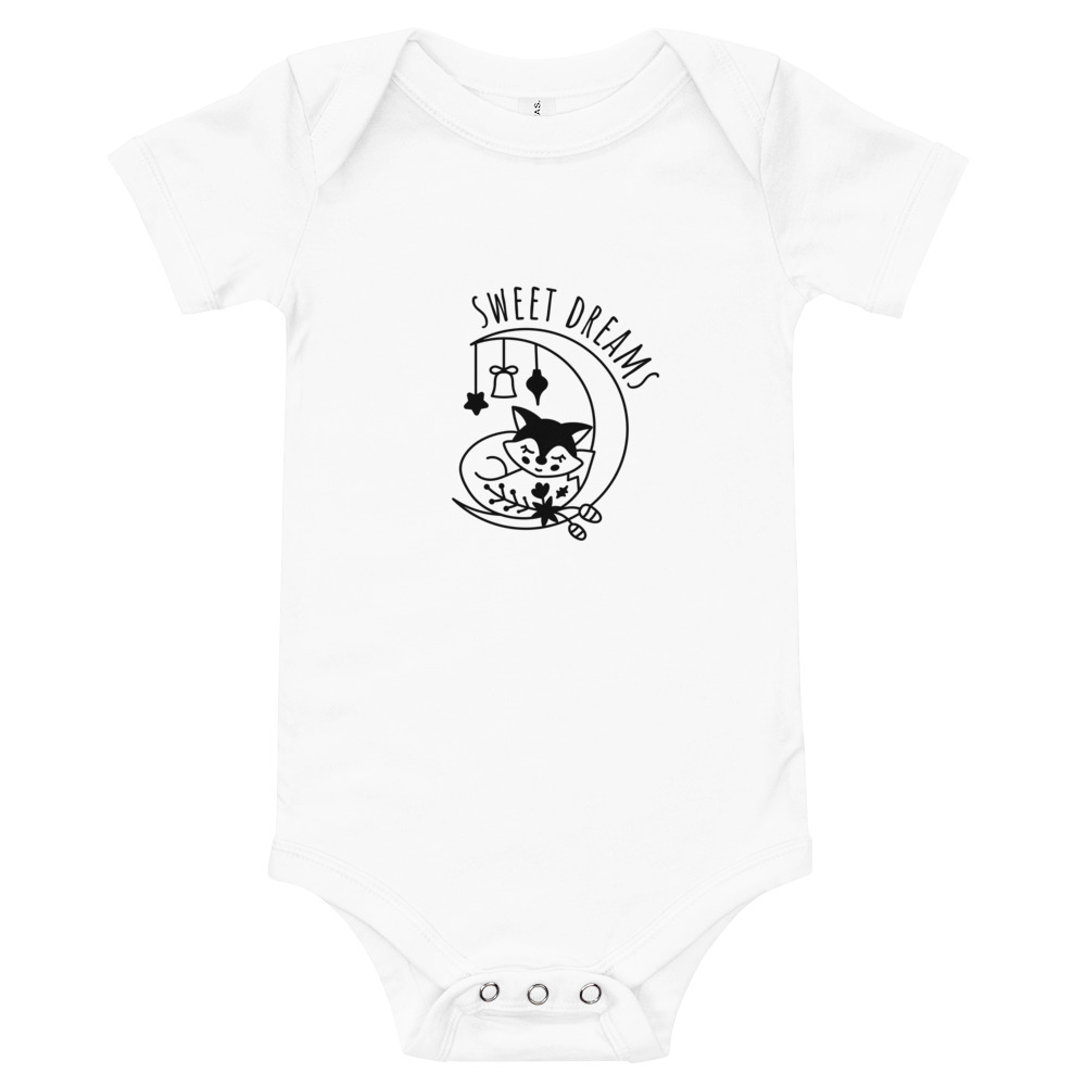 White Sweet Dreams Baby Short Sleeve One Piece – Free Shipping