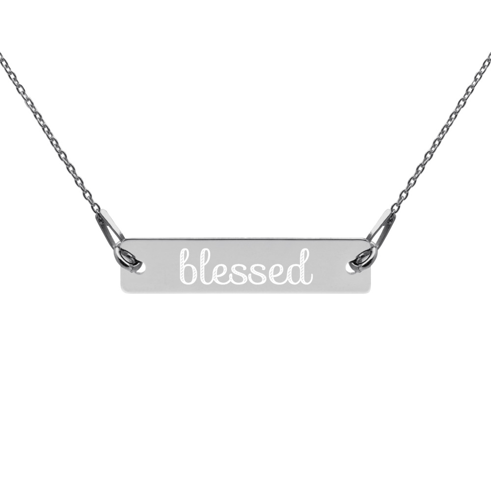Blessed Engraved Silver Bar Chain Necklace – Free Shipping