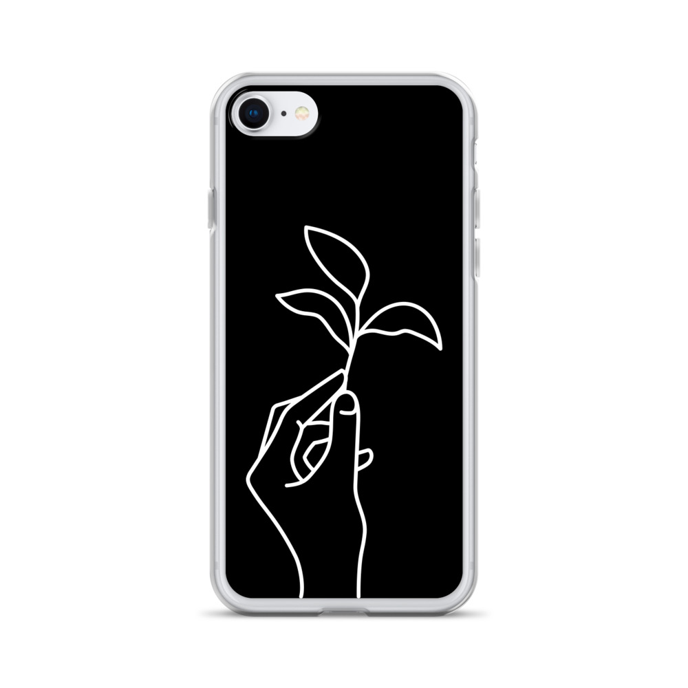Hand Line Art: White on Black iPhone Case – Free Shipping