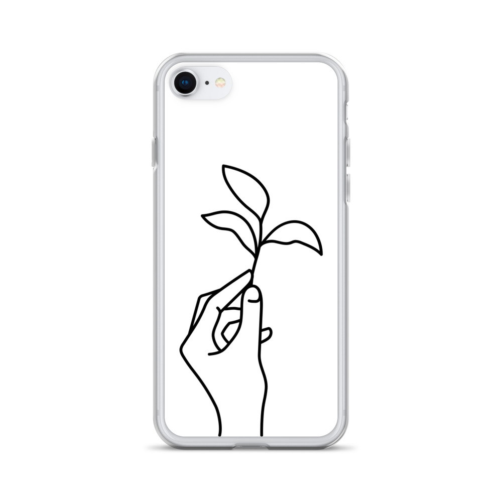 Hand Line Art: Black on White iPhone Case – Free Shipping