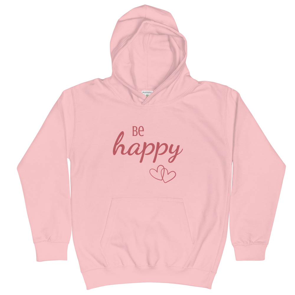 Be Happy Kids Hoodie (Pink) – Free Shipping